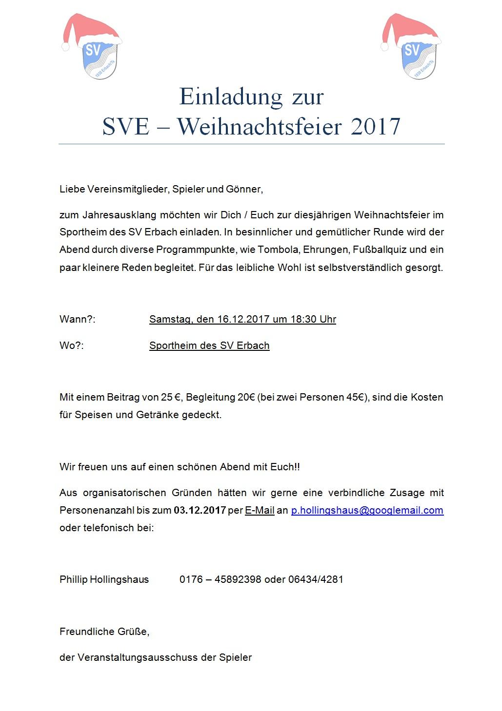 Rede Weihnachtsfeier Fussballverein.Sv 1930 Erbach Ts E V Verein Einladung Weihnachtsfeier